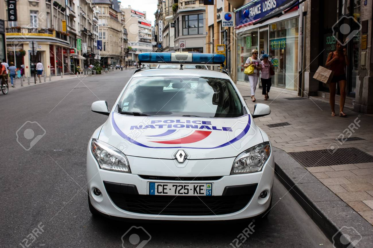Reims France July 03 2018 View Of A French Police Car Parked