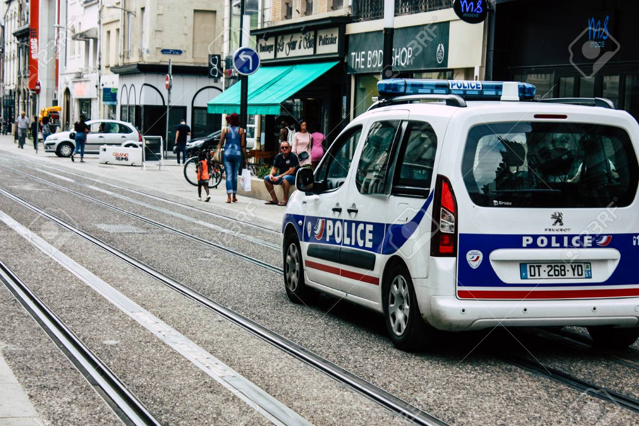 Reims France July 23 2018 View Of A French Police Car In The