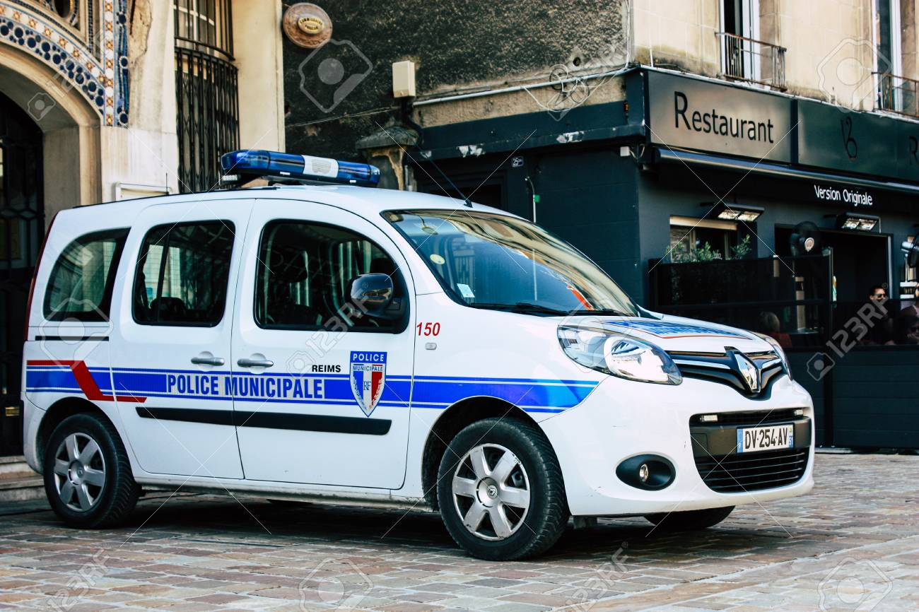 Reims France July 14 2018 View Of A French Police Car At The