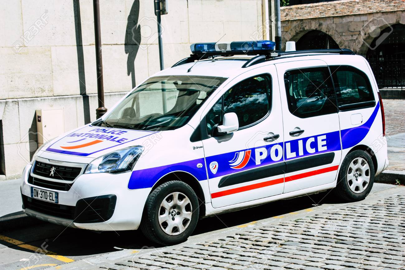Reims France August 10 2018 View Of A French Police Car In The