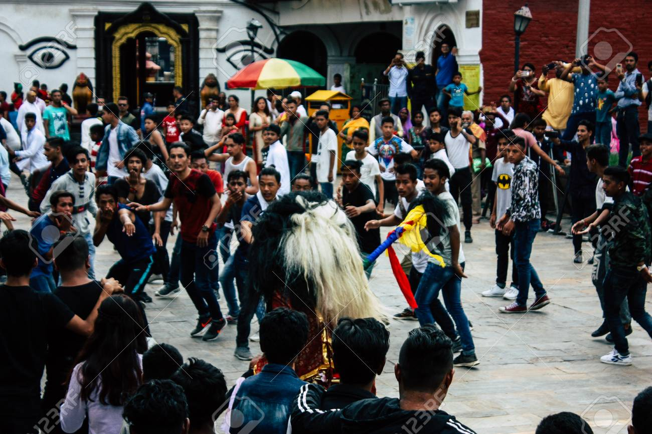 Kathmandu Nepal August 27 2018 View Of Young Unknowns People