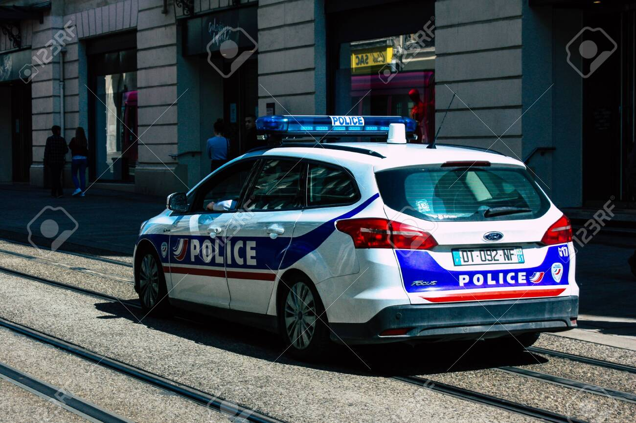 Reims France April 21 2019 Closeup Of A Police Car Rolling In