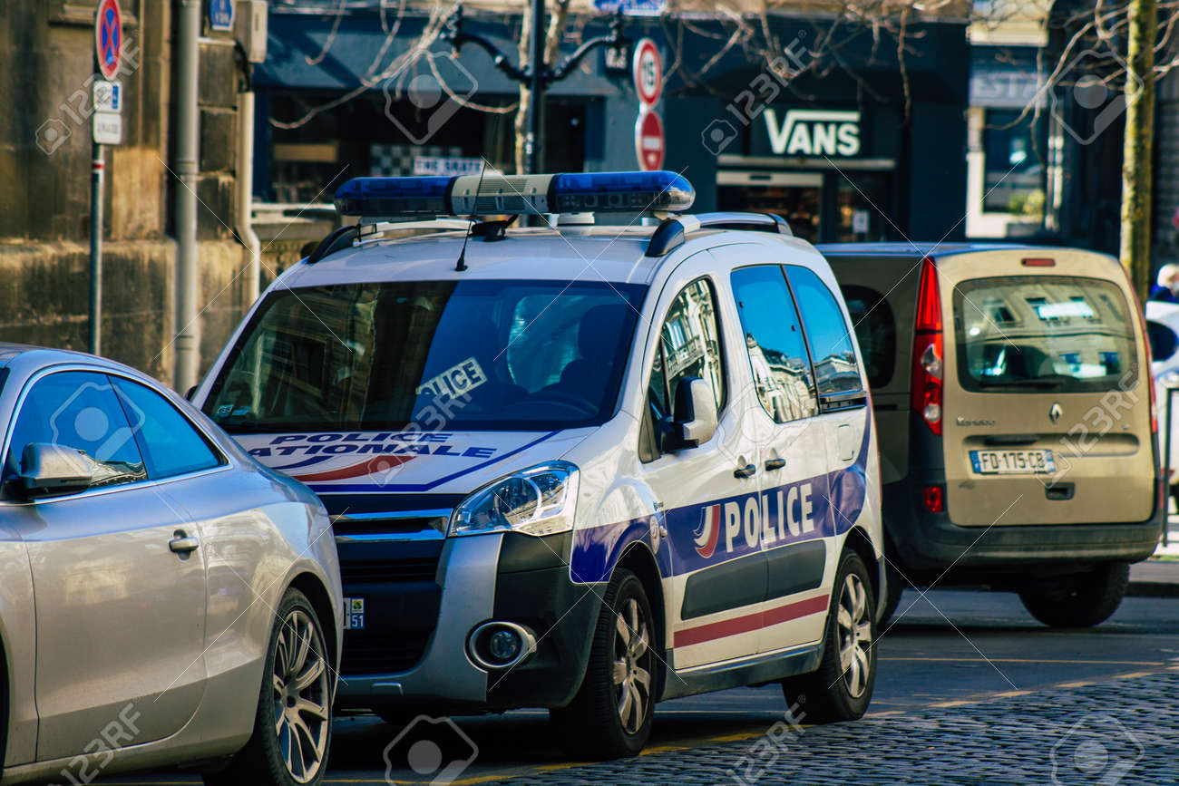 Reims France March 29, 2021 French police car in the streets of Reims during coronavirus pandemic and the lockdown to impose containment of the population - 166701577