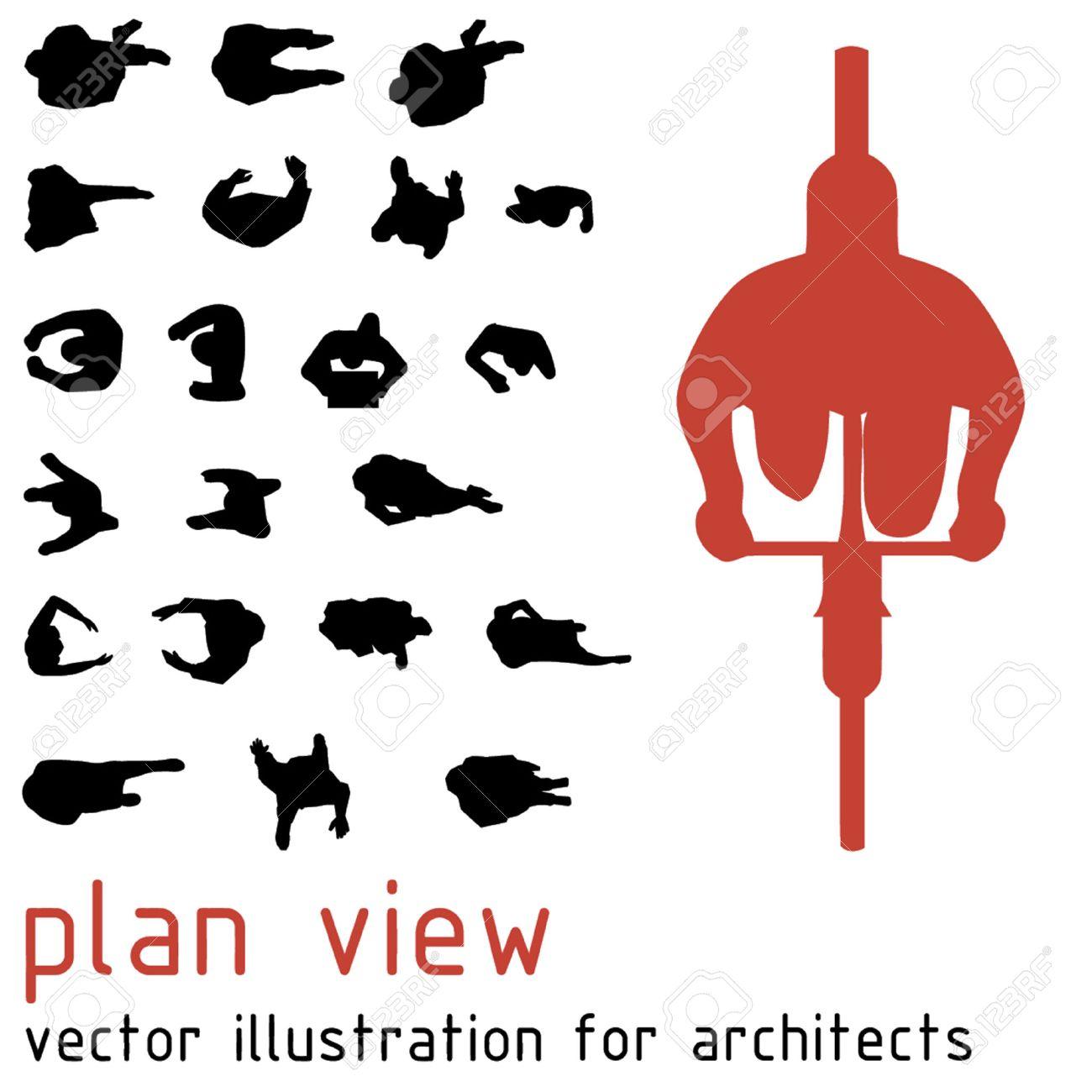 Draufsicht silhouetten für architektonische entwürfe lizenzfreie bilder 45851732
