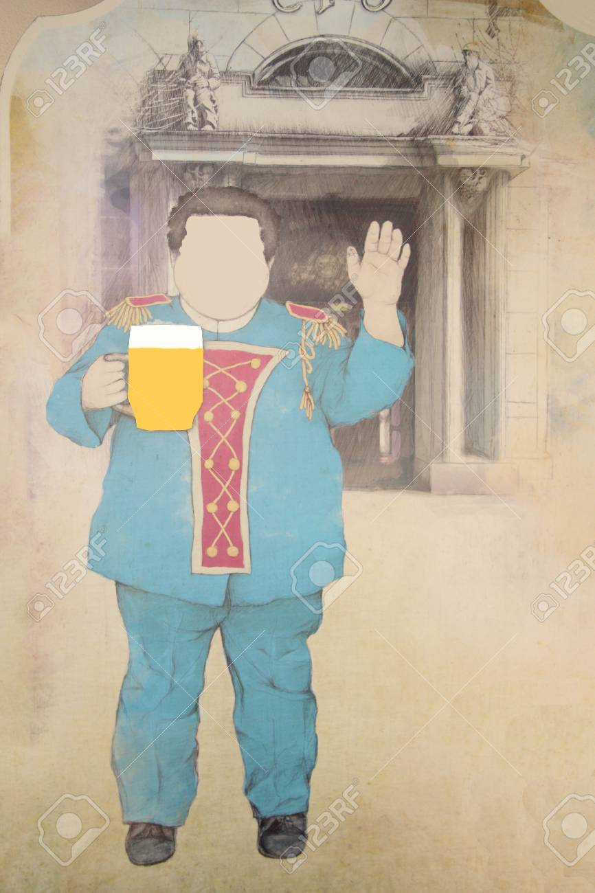 Drawing On Ancient Painting A Puppet With Beer Mug In His Hand Stock Photo Picture And Royalty Free Image Image 17654415