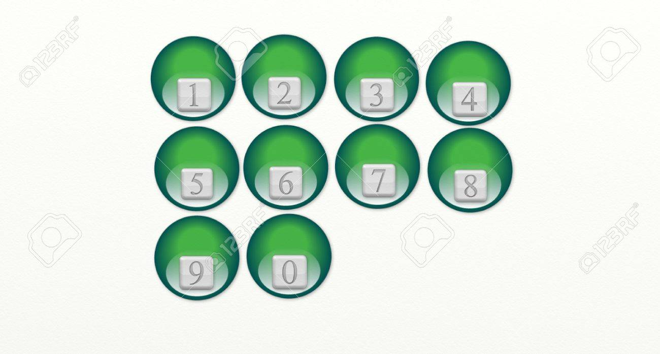 numbers in the gray box from zero to nine, within green ball Stock Vector - 17668938