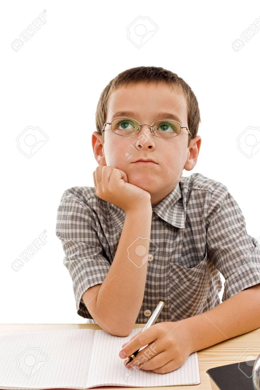 Schooljongen Vervelen Doet Zijn Huiswerk Geïsoleerd