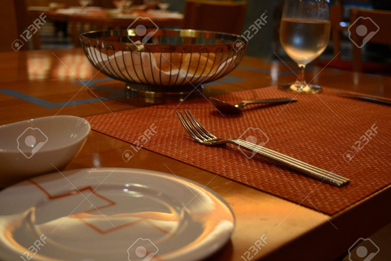 Italian Table Setting Table Setting In Italian Restaurant Stock Photo Picture And