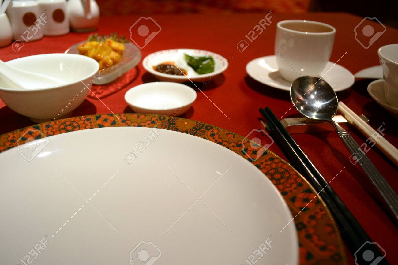 Chinese table setting - The Table Setting Of A Chinese Restaurant Stock Photo 22636088