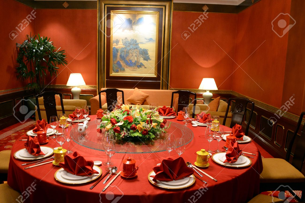 the decor of a chinese restaurant stock photo, picture and royalty