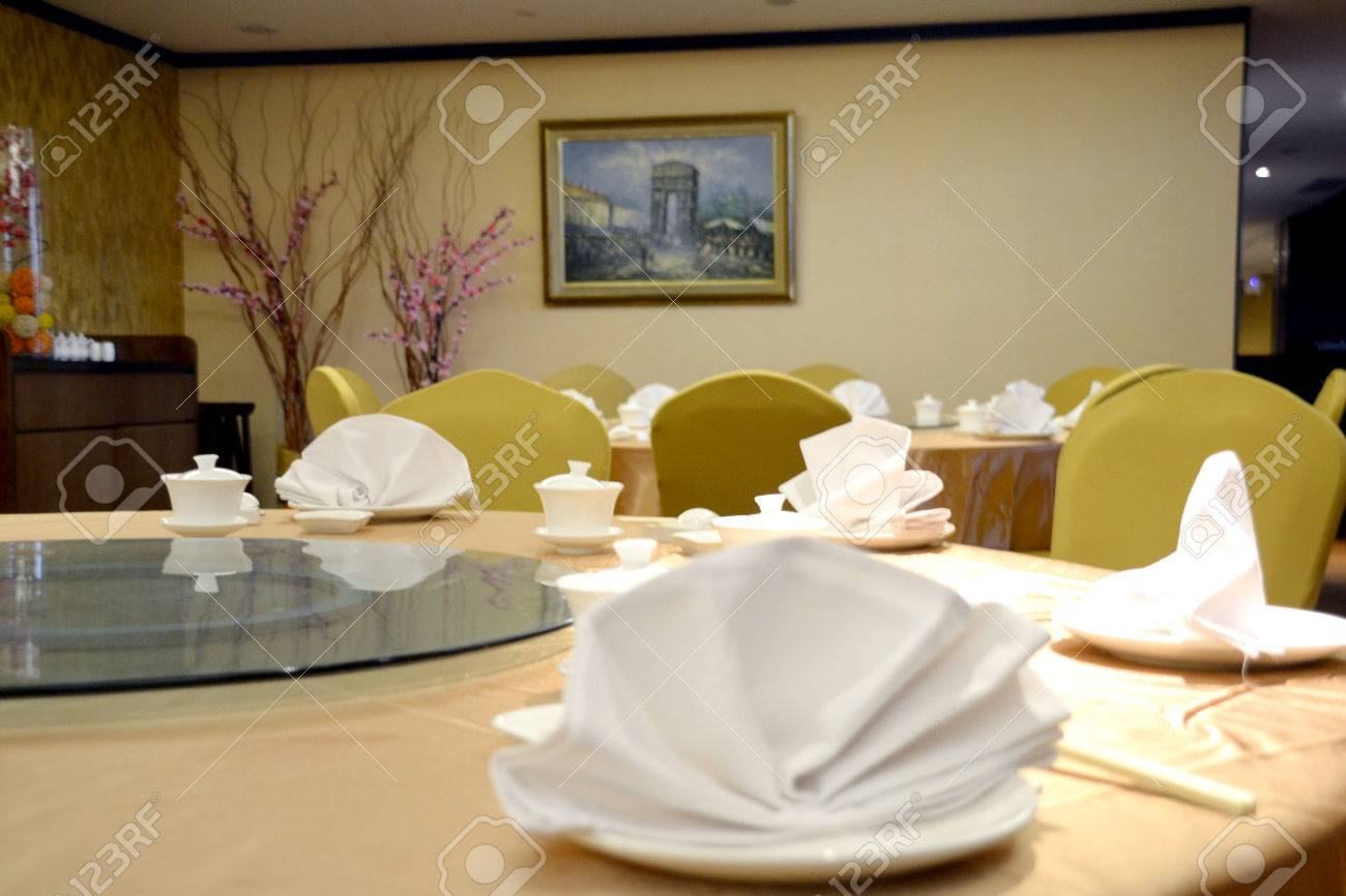 Stock Photo - Table setting in fine-dining high class chinese restaurant & Table Setting In Fine-dining High Class Chinese Restaurant Stock ...