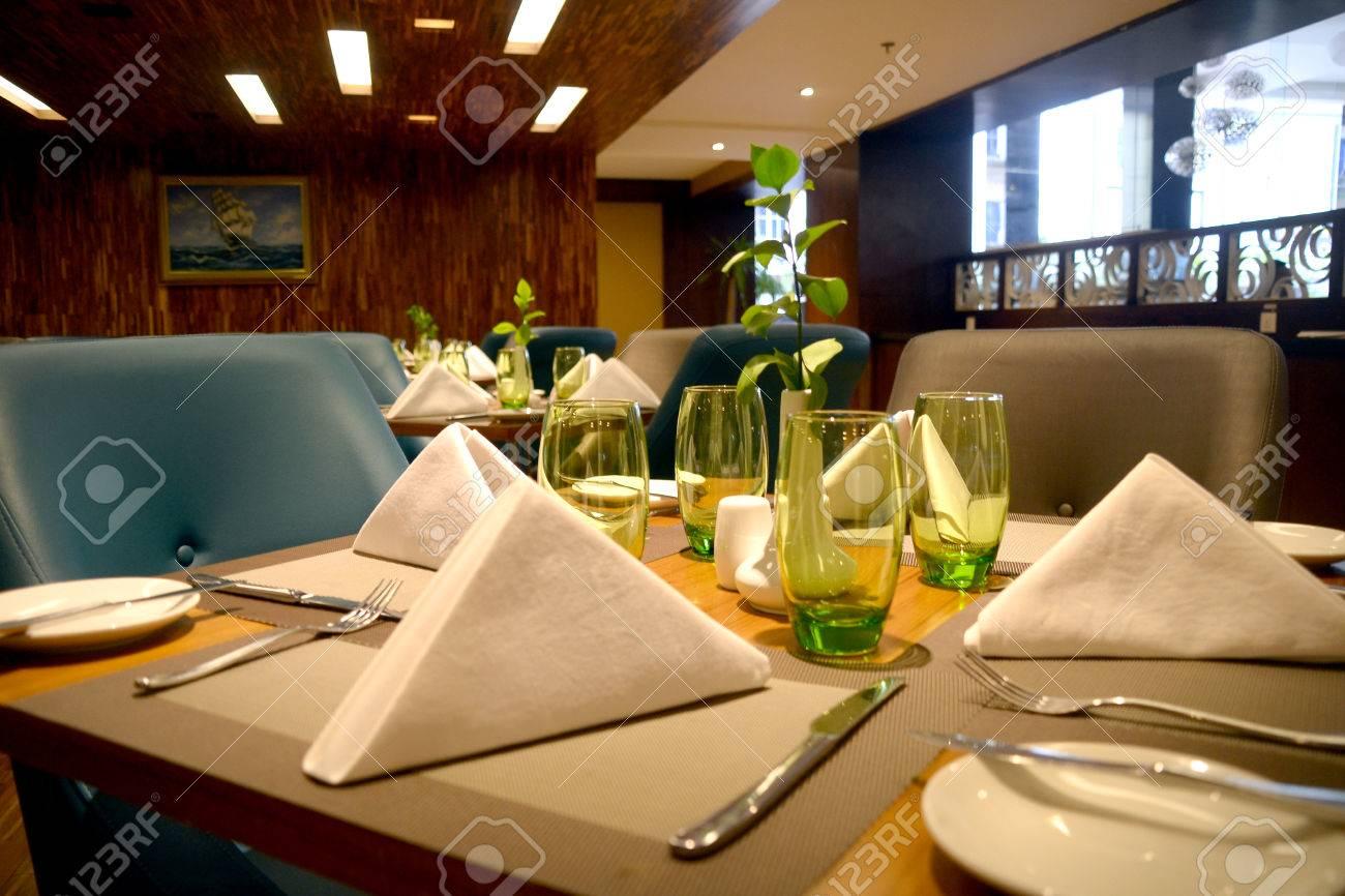 Fine dining restaurant table setup - Table Setting In Fine Dining High Class Restaurant Stock Photo 24653023