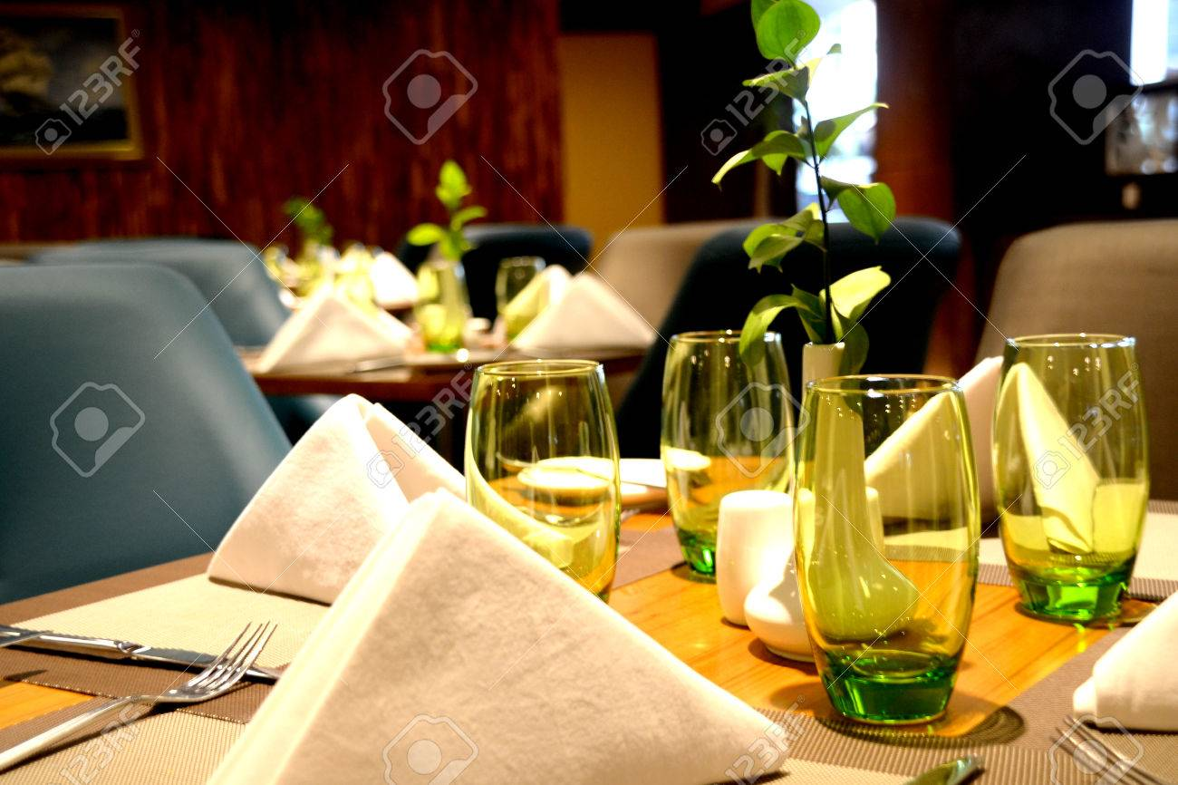 Stock Photo - Table setting in fine-dining high class restaurant & Table Setting In Fine-dining High Class Restaurant Stock Photo ...
