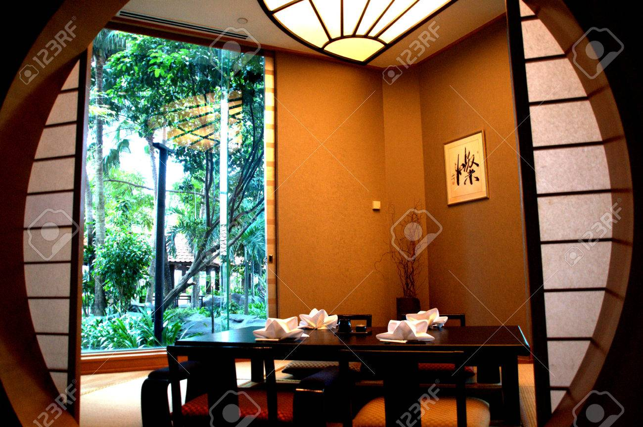 Japanese Table Setting In Private Dining Room In Japanese Restaurant - Private table restaurant