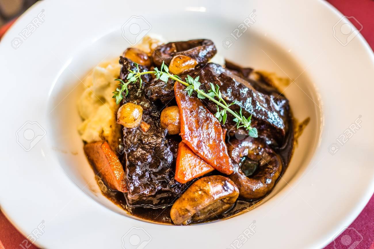 Joue de Boeuf Braisee Braised Beef Cheek, Red Wine Carrot, mushroom Pearl, and Onion Mashed Potato - 119203943
