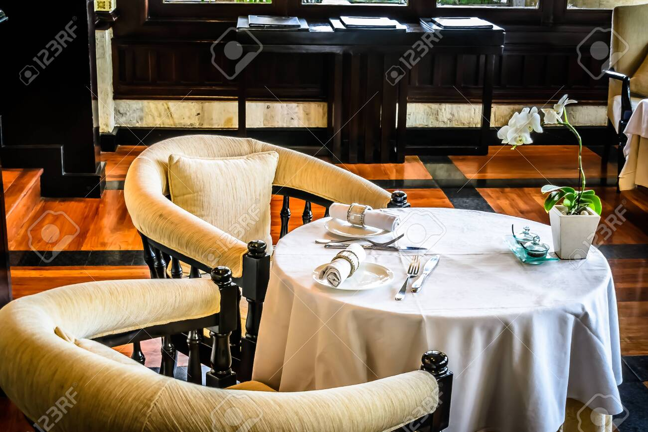Beautiful Restaurant With White Linen Table Cloths White Linen Stock Photo Picture And Royalty Free Image Image 132469075