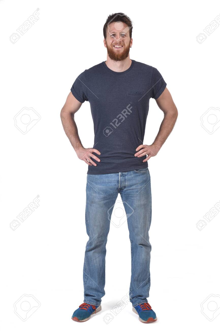 full portrait of a man hands on waist and smiling on white - 125508995