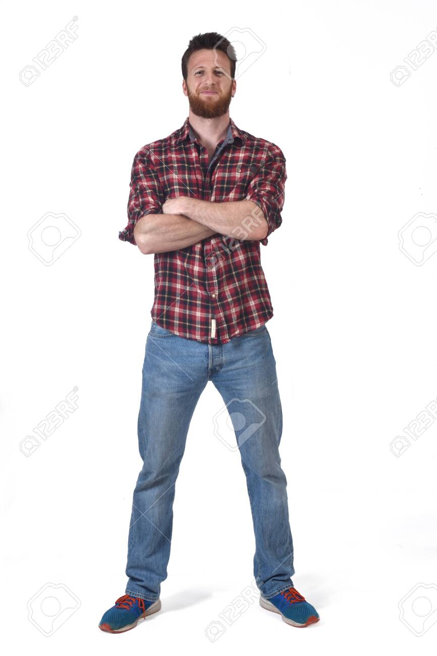 full portrait of a man with on white background - 126210032