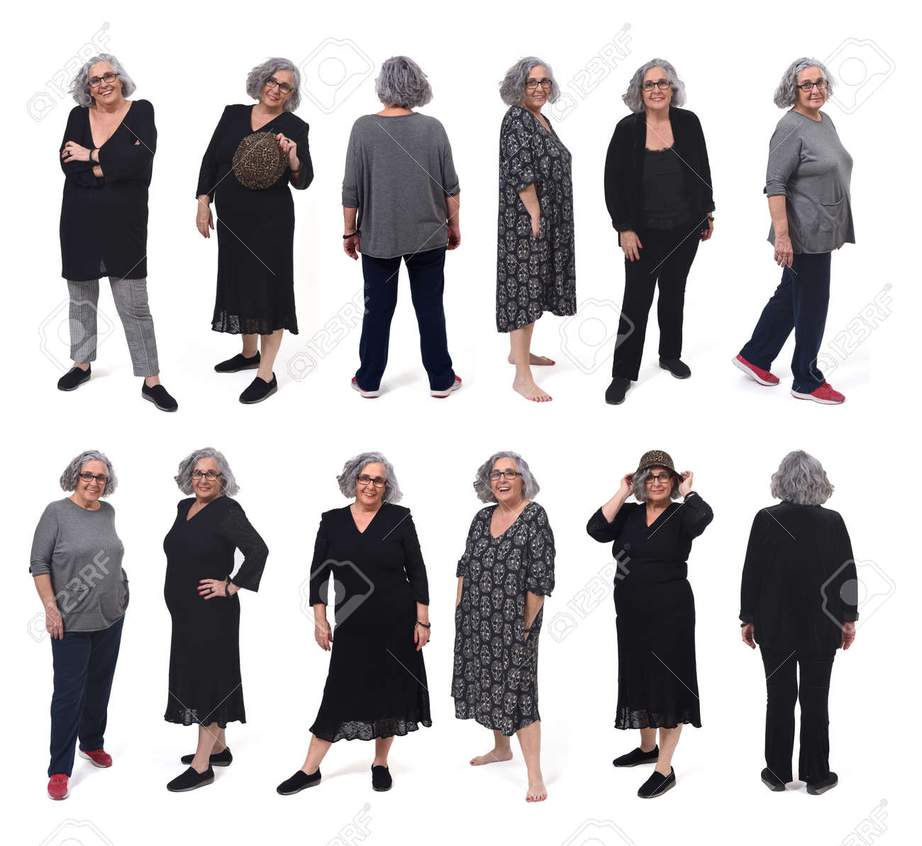 the same woman with different outfits on white background - 166912237