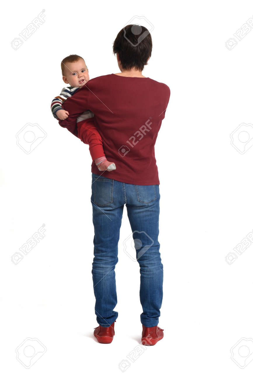 rear view of a mother carrying her baby on white background - 169565310
