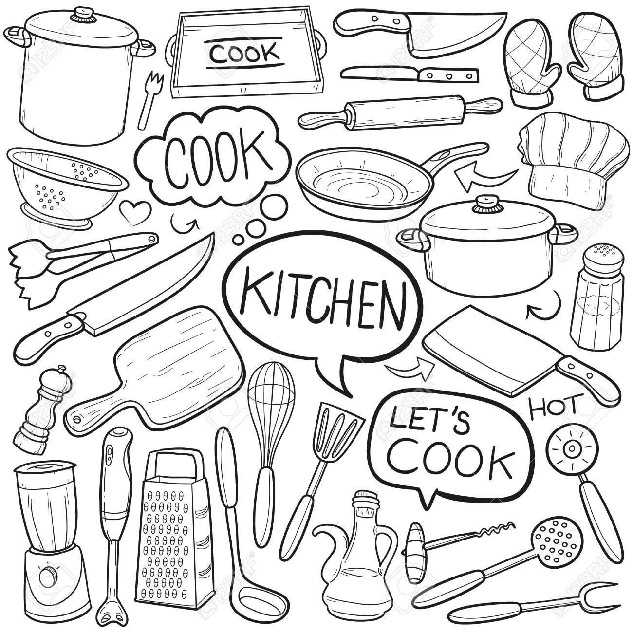 Kitchen tool cook doodle icon sketch vector art stock vector 78978089