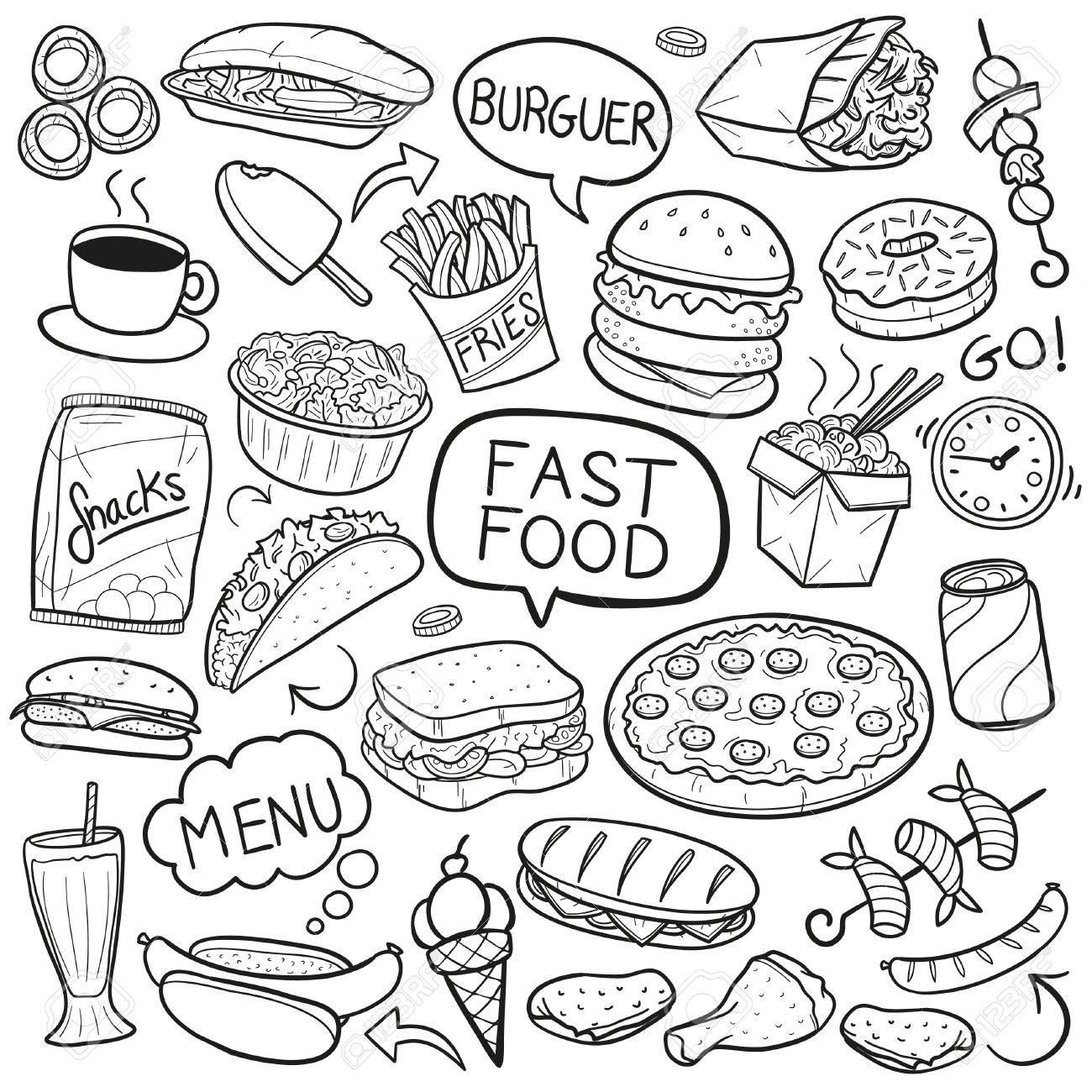 fast food restaurant doodle menu icon sketch vector art royalty free rh 123rf com royalty free vector artwork royalty free vintage vector art