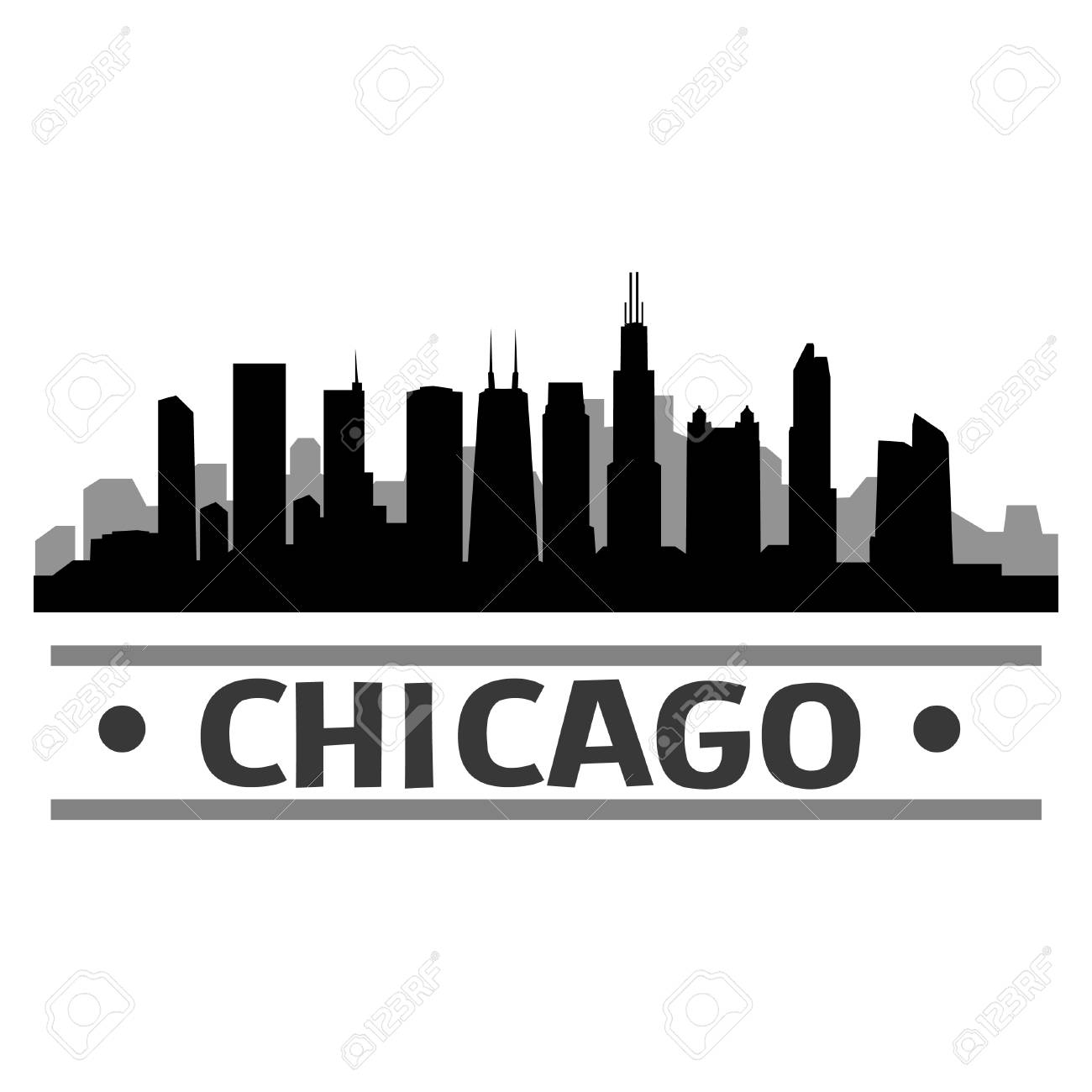chicago skyline vector art city design royalty free cliparts rh 123rf com Chicago Skyline Wallpaper chicago skyline vector art