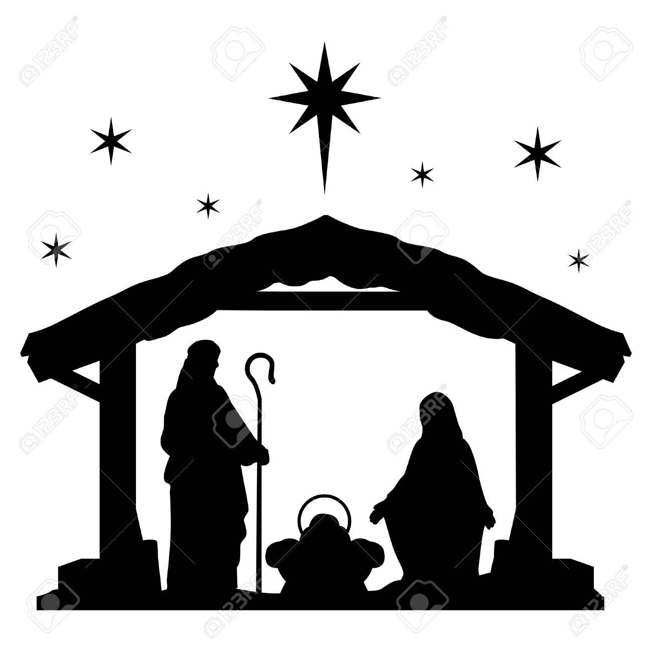 Nativity Scene Silhouette Holiday Holly Night Christmas. Royalty ...