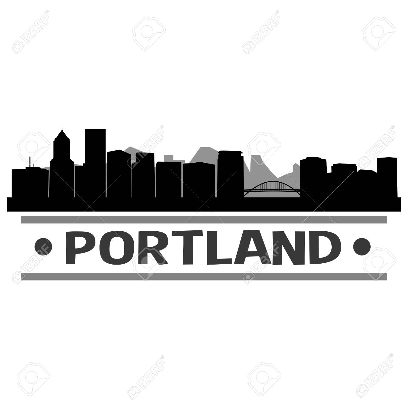 Portland Skyline Logo Wiring Diagrams 20152016 Nissan Nv Curt T Connector Harness 56279 Oregon United States Of America Usa Icon Vector Art Rh 123rf Com Atlanta Maine