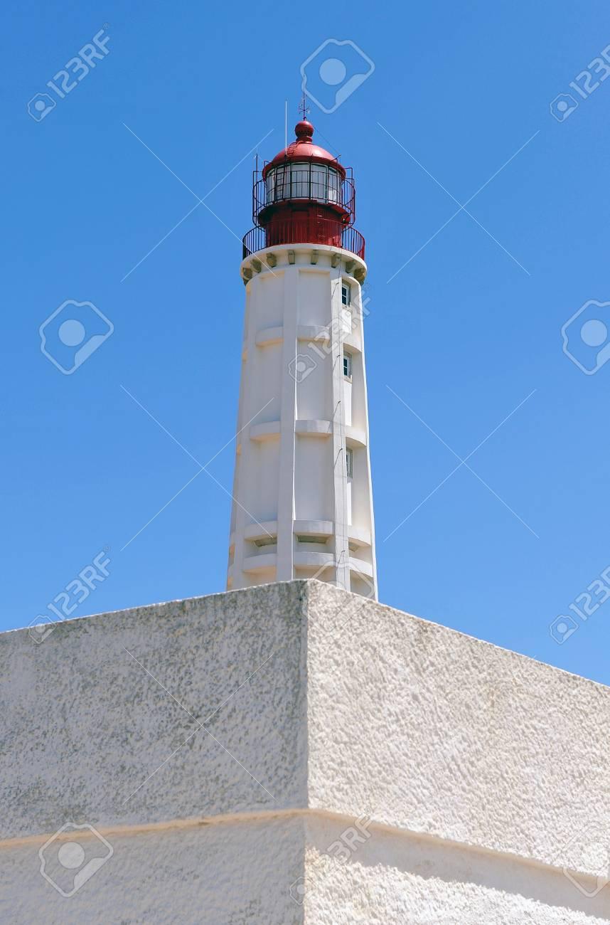 Maritime lighthouse, Culatra Island, region of Algarve, southern Portugal, Europe Stock Photo - 26055966