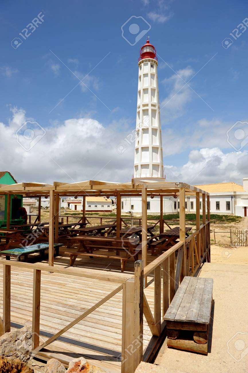 Maritime lighthouse, Culatra Island, region of Algarve, southern Portugal, Europe Stock Photo - 26055975