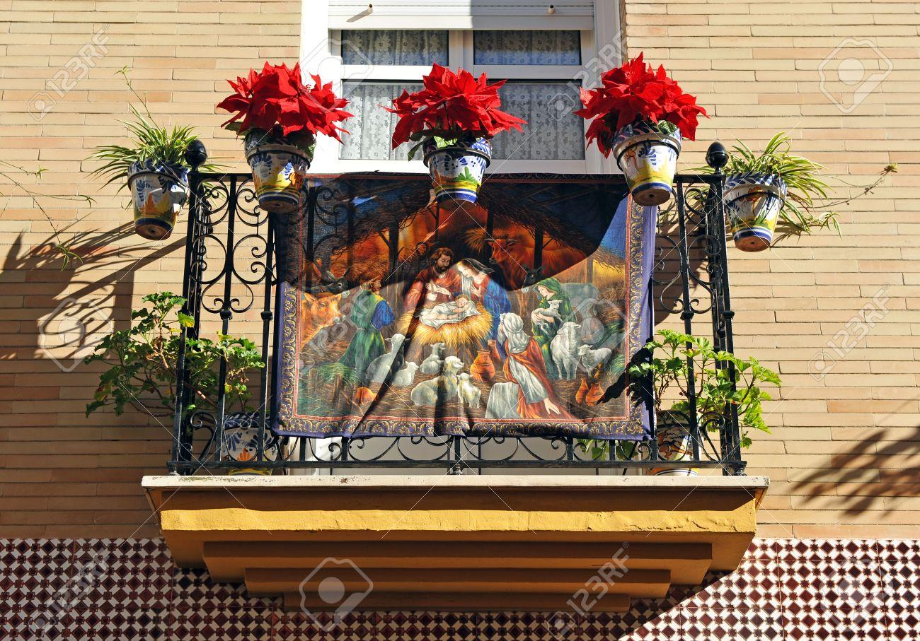 Balcon Decorado Para Una Fiesta Religiosa La Navidad Triana