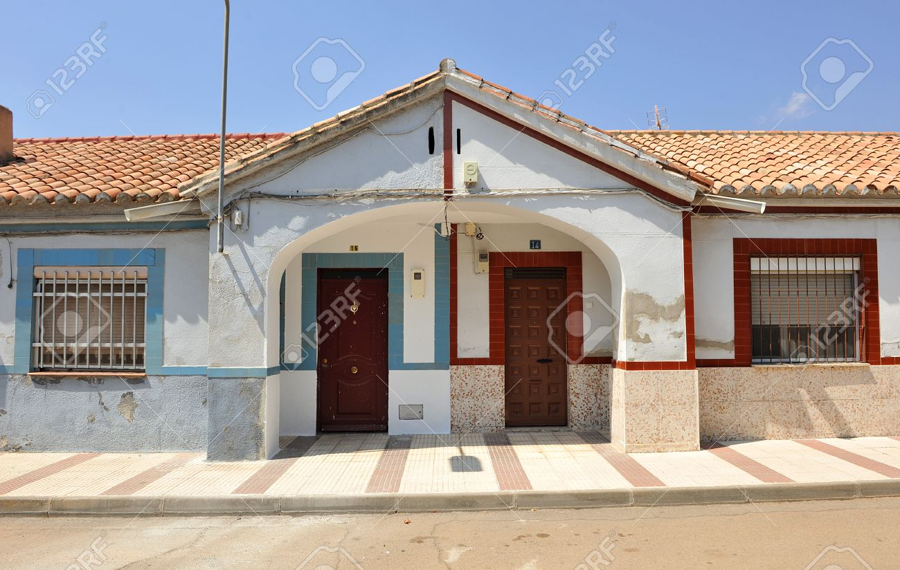 two semi detached houses popular architecture asymmetrical two semi detached houses popular architecture asymmetrical symmetry puertollano spain stock