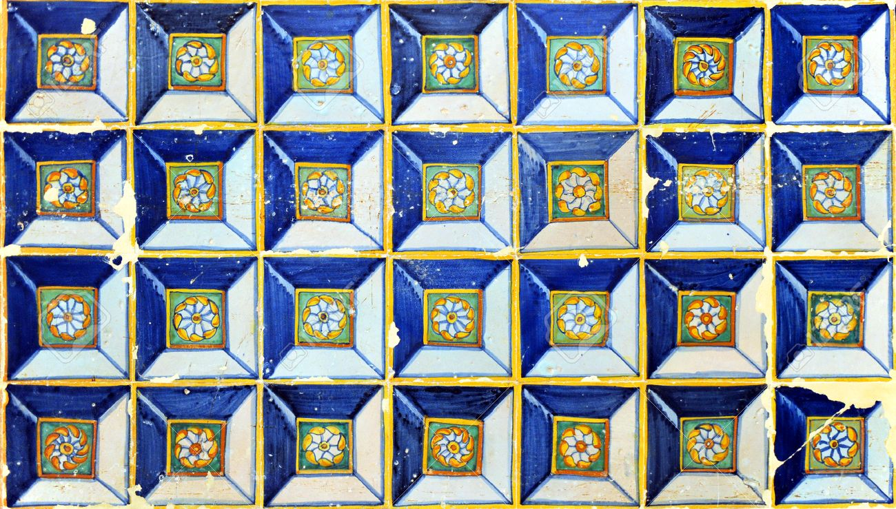 Panel Of Antique Tiles, Renaissance Style, Diamond Tip, Background ...