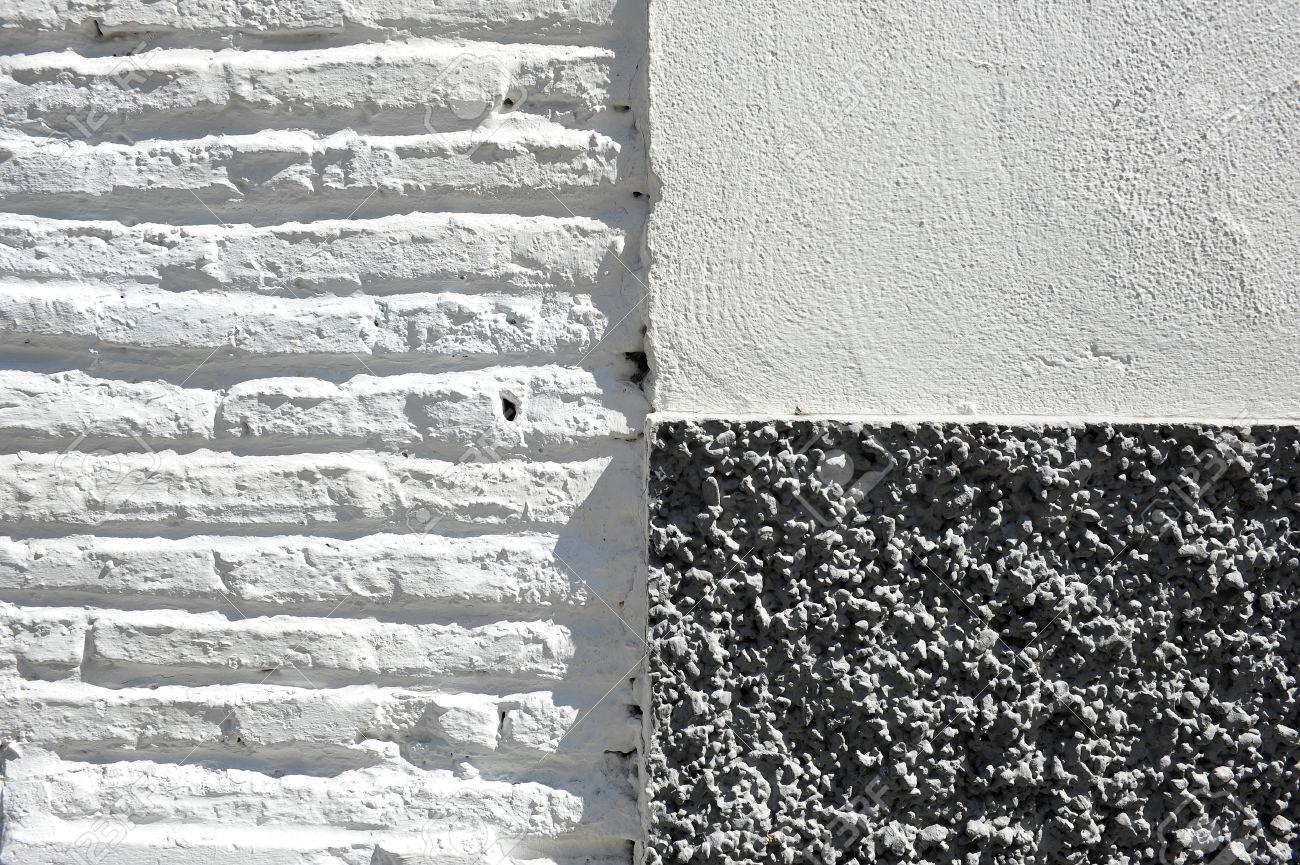 Texture Rugueuse Dune Maison Peinte Façade Blanche Et Grise Détail