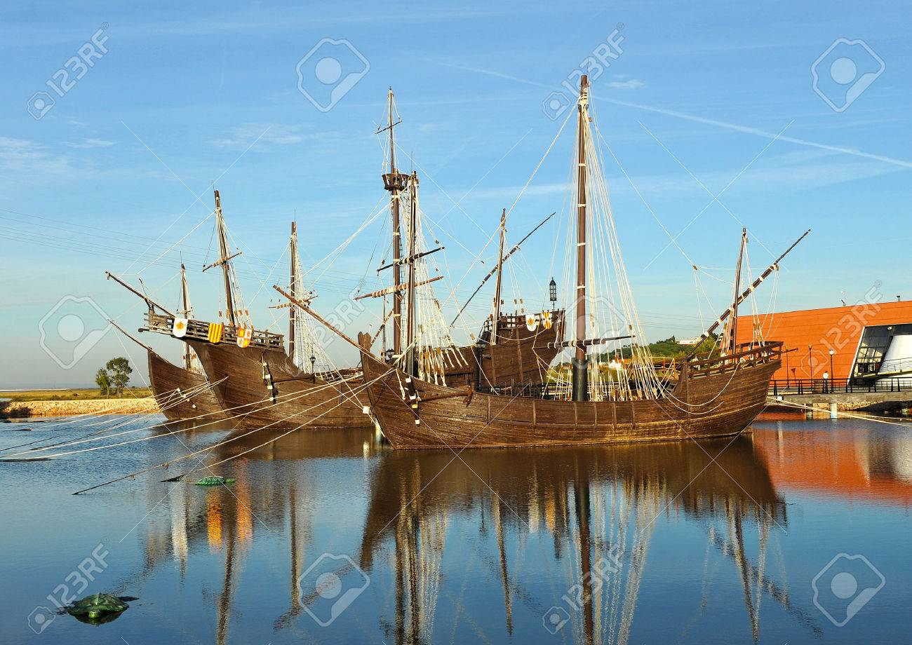 The Caravels Of Christopher Columbus Discovering America Palos