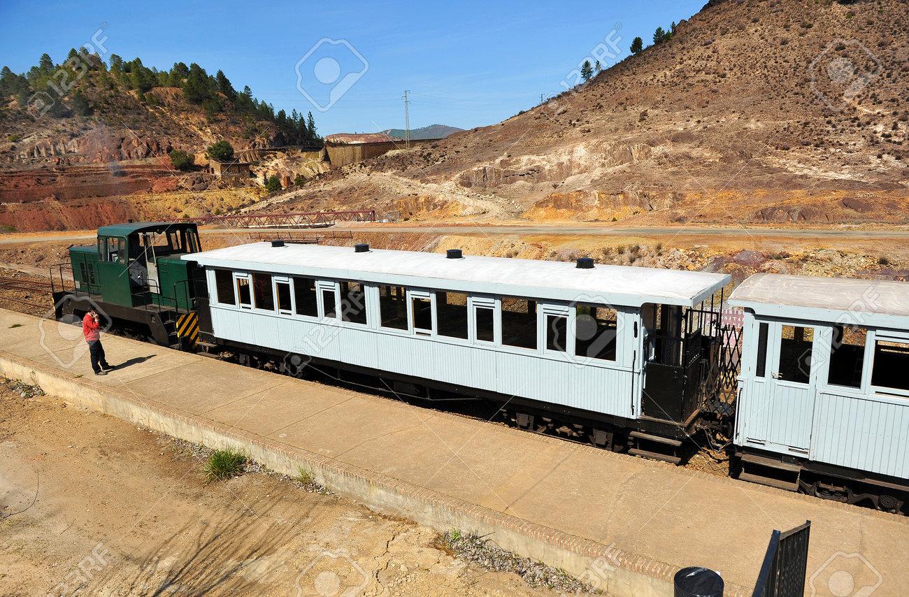 Tourist train in the Rio Tinto mines, Huelva province, Spain - 60042114