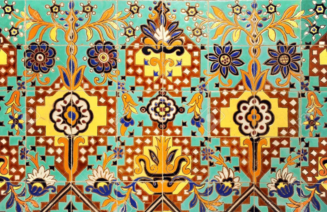 Detail Of Decorative Mosaic Of Tiles, Exotic Design, Indian Motif ...