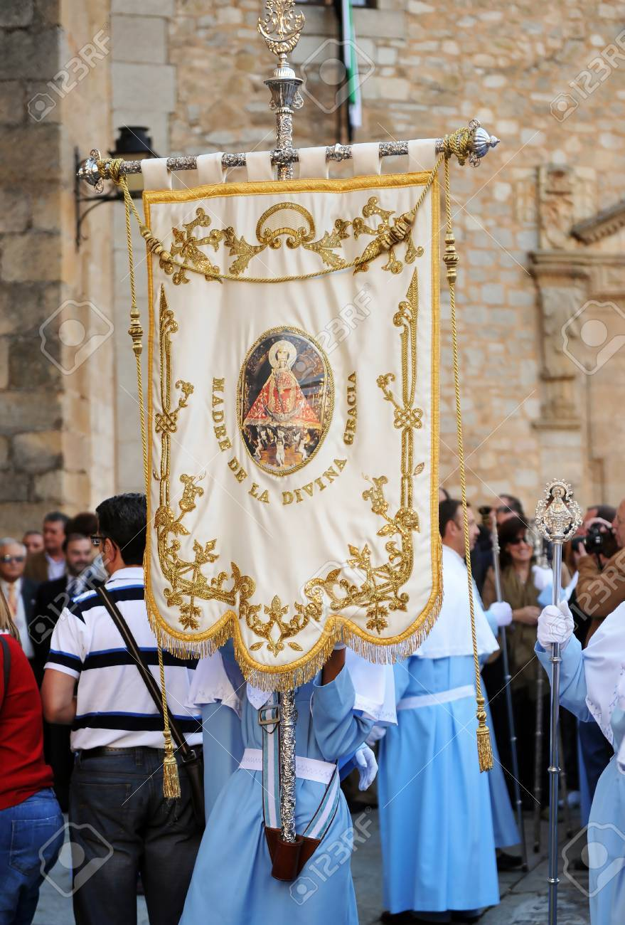 Banner in the Religious procession of the patron saint of Caceres,