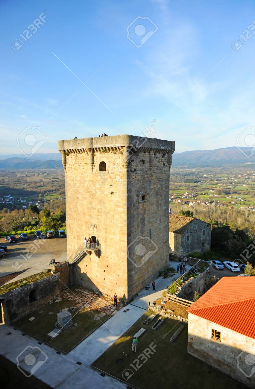 Monterrei Castle donjon in Verin, famous town in Ourense province, Galicia, north of Spain. - 112497742