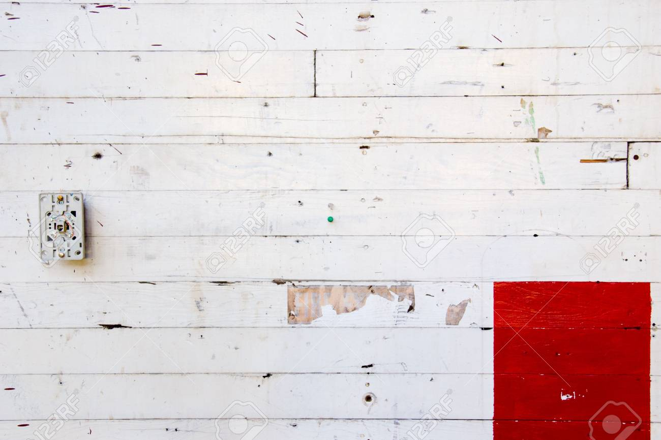 A white wall with red paint for design layouts and copy space. Stock Photo - 5150350