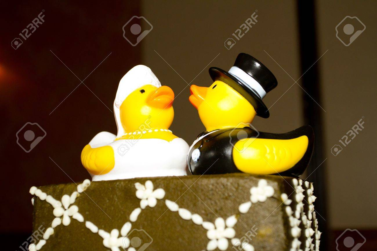 Rubber Ducks Are The Cake Toppers For This Wedding Cake At A.. Stock ...