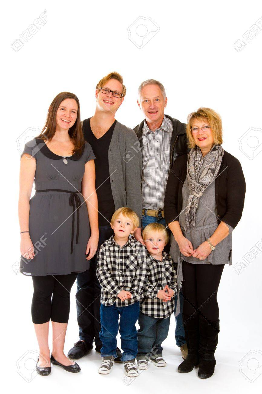 This group of six people includes three generations on an isolated white background in the studio. Stock Photo - 17515214