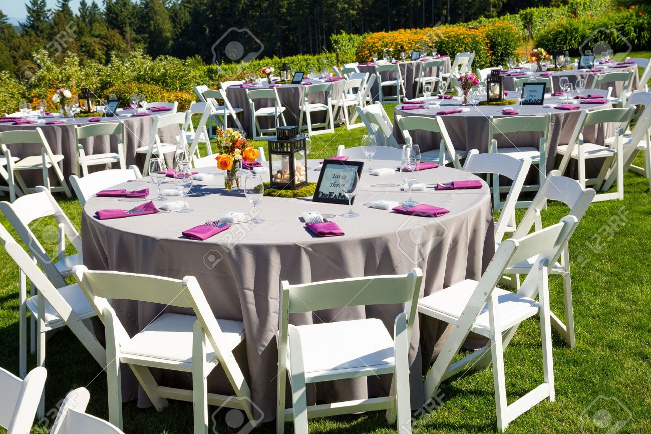 Tables Chairs Decor And Decorations At A Wedding Reception An Outdoor Venue