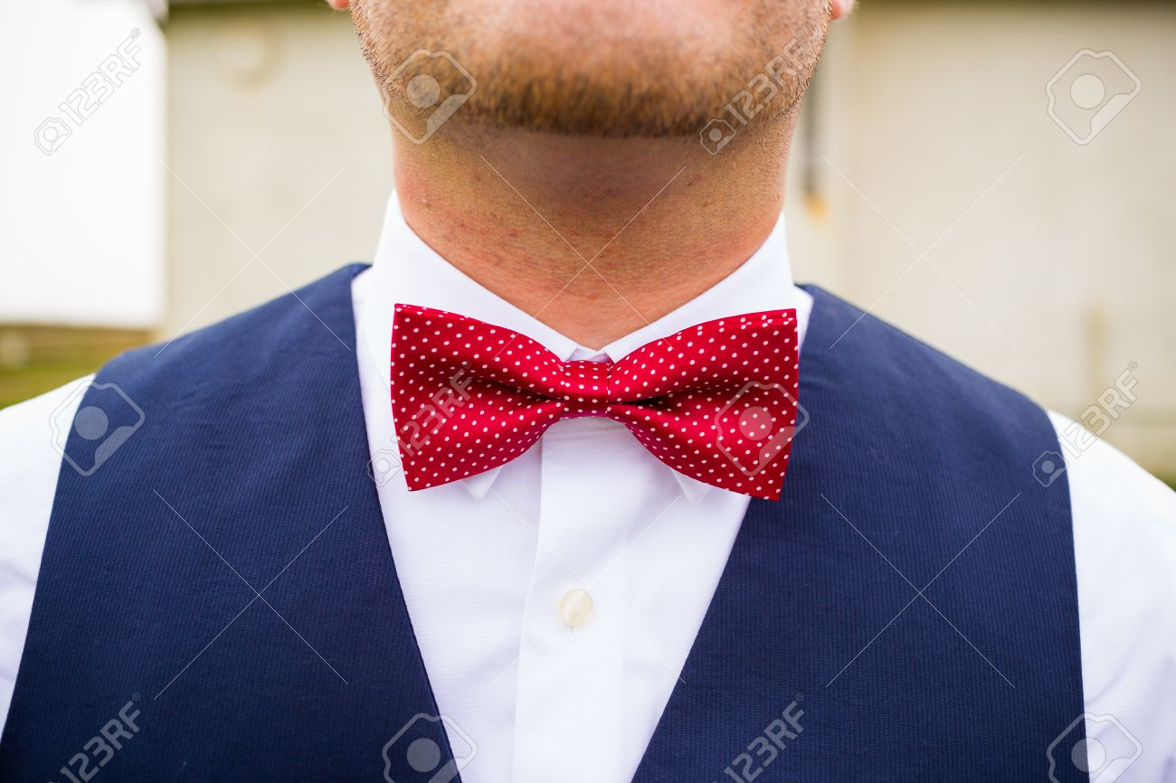 bb581e4c31e5 A fashionable groom wears a red and white bowtie with a navy blue vest on  his