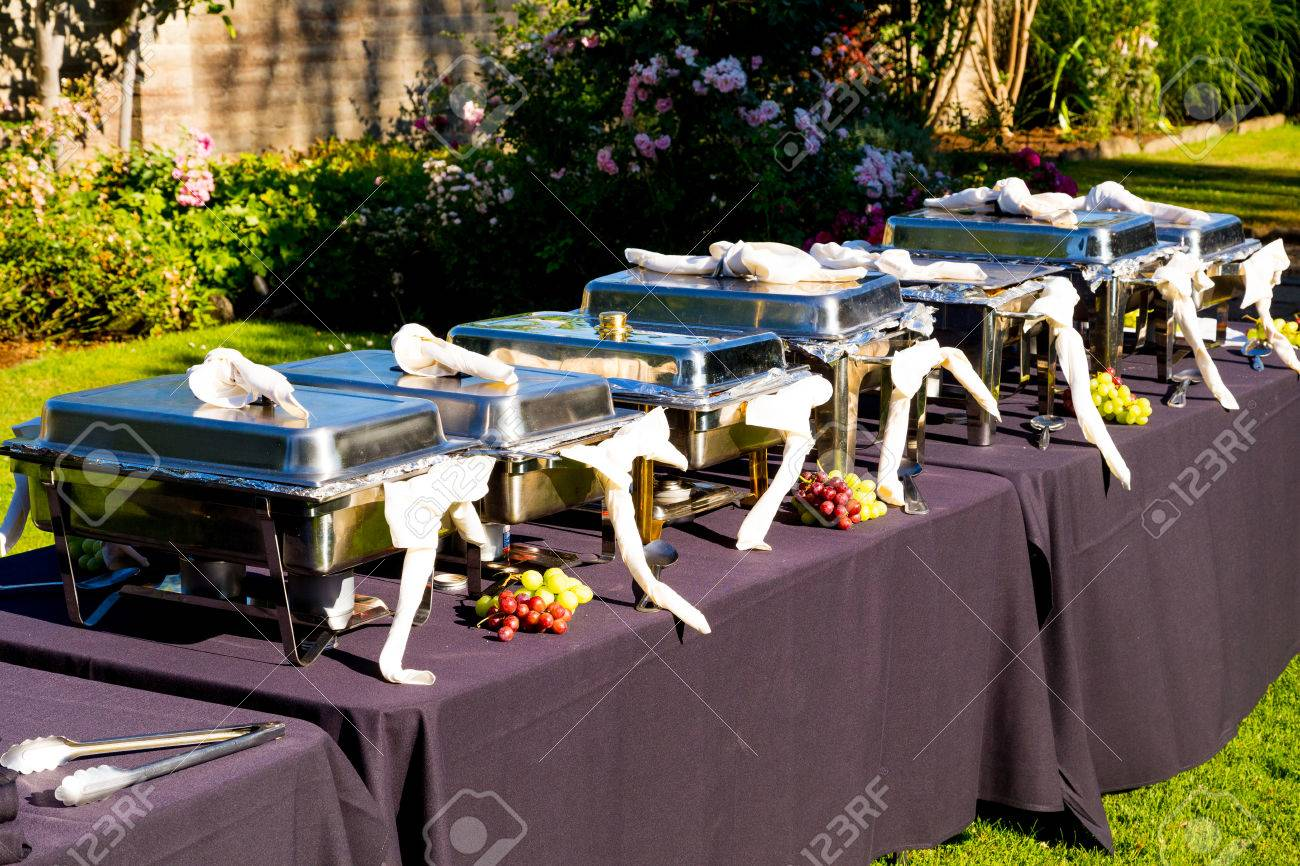 A Wedding Buffet Is Setup And Ready For The Guests At This Reception ...