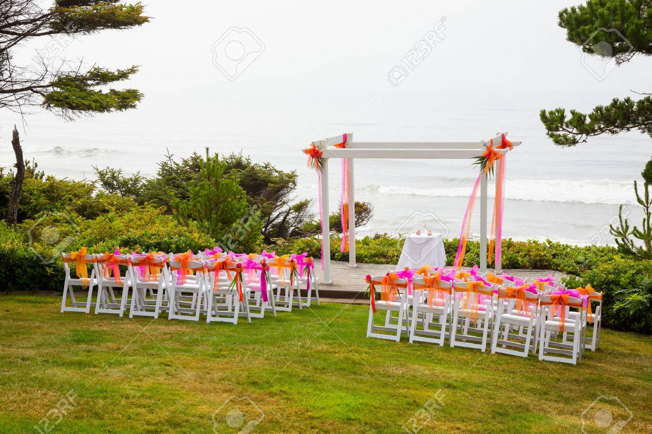 Wedding ceremony chair - Chairs And Decor Are Setup For This Coastal Wedding Ceremony At The Coast Just Above The