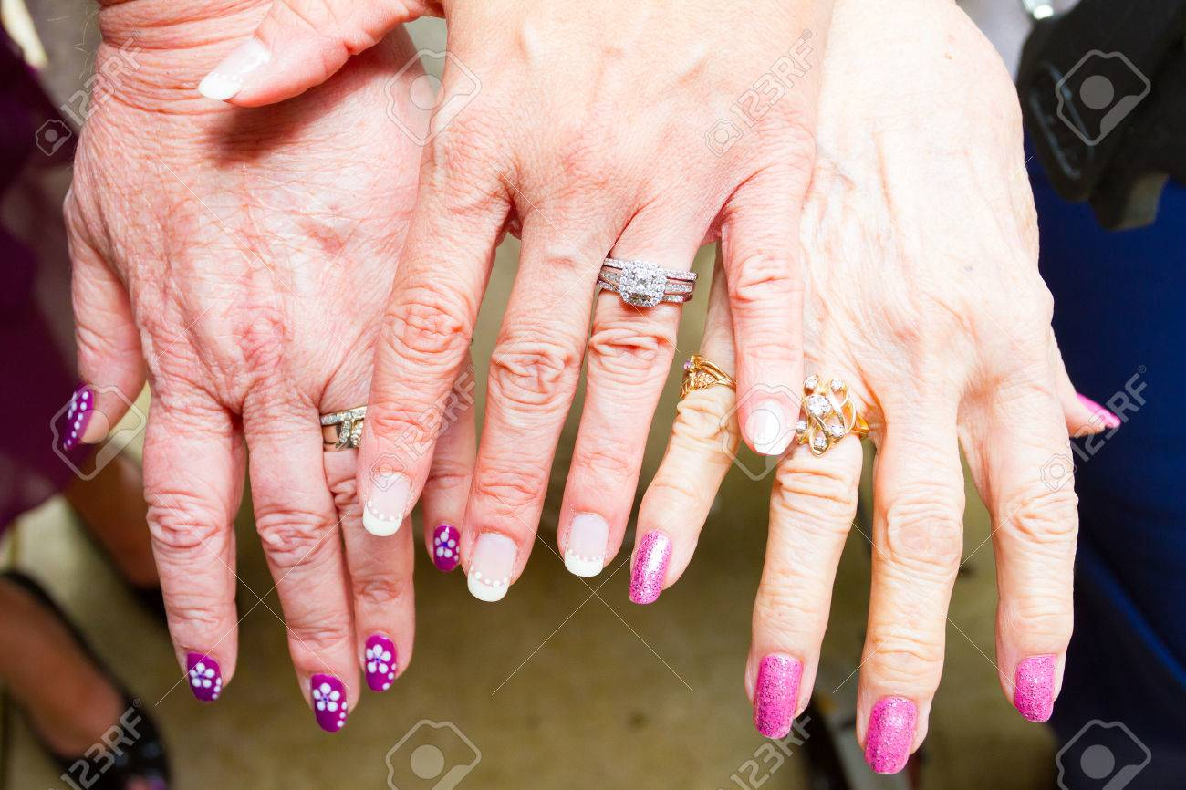 Wedding Rings From Three Generations At This Ceremony With A.. Stock ...