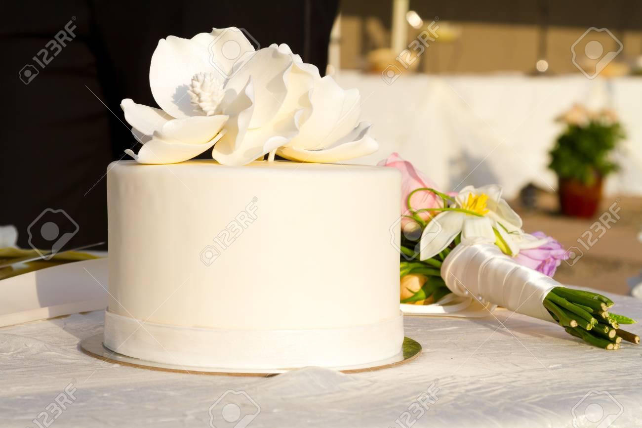 Detail Of A White Wedding Cake At A Reception. Stock Photo, Picture ...