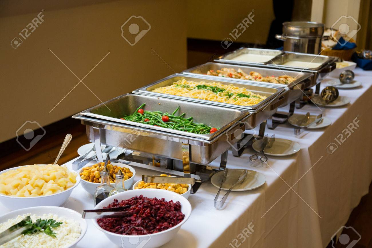 Wedding Food In A Buffet Style Dinner At The Reception. Stock Photo ...